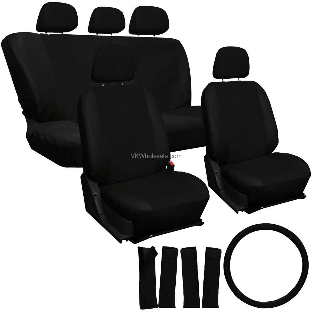 solid black superior synthetic faux leather car seat cover 17 pc set wholesale. Black Bedroom Furniture Sets. Home Design Ideas