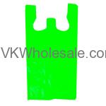 Lime Green 1/6 Heavy Duty T-Shirt Shopping Bags Wholesale
