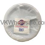 "10 1/4"" White 3 Compartment Plastic Plates Wholesale"