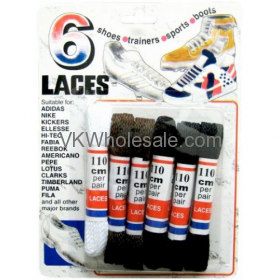 6 Pairs - SHOE Laces Assorted Colors