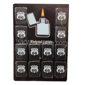 ROUTE 66 Windproof Lighters Black 12 PCS