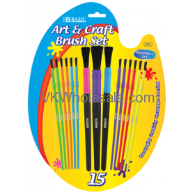 Assorted Size Kids Water Color PAINT Brush Set (15/Pack)