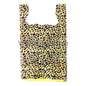 Leopard Print 1/6 Heavy Duty T-Shirt Shopping Bags Wholesale