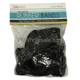 Black Assorted RUBBER BANDS 100g Tangle Free 12 PK