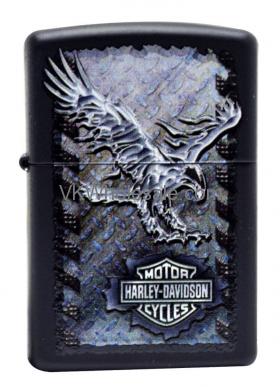 Zippo HARLEY DAVIDSON Black Matte Lighter, Iron Eagle 28485