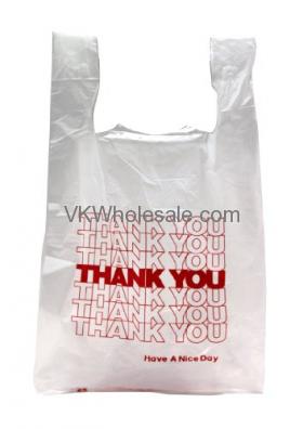 1/6 Heavy Duty Thank You T-Shirt Shopping Bags Wholesale