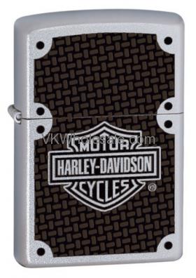 Zippo HARLEY DAVIDSON Satin Chrome Lighter With Carbon Fiber Logo 24025