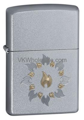 Zippo Satin Chrome Lighter, RING Of Fire 21192