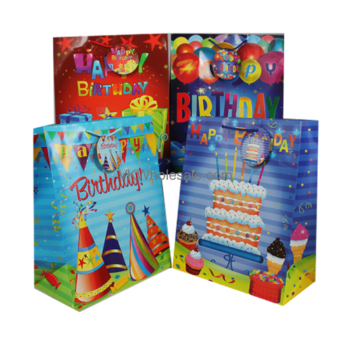 Happy Birthday Gift Bags Gloss Large 12 PC