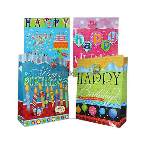 Happy Birthday Gift Bags Gloss Finish Large 12 PC