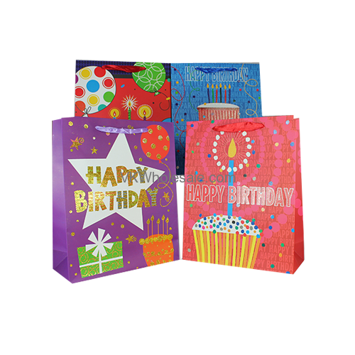 Happy Birthday Gift Bags Glitter Large 12 PC