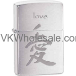 Zippo Classic Chinese Symble for Love Brushed Chrome Z254 Lighter Wholesale
