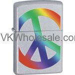 Zippo Classic Peace in Rainbow Color Satin Chrome Windproof Lighter Z274