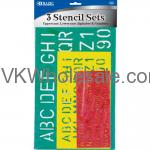 10, 17, 27 mm Size Lettering Stencil Sets (3/Pack)