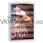 Zippo Lighter: Eagle and Flag - Brushed Chrome 28652 Lighter Wholesale