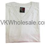 Wholesale V-Neck White Short Sleeves T-Shirts 12 pk