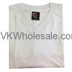 Wholesale V-Neck White Short Sleeves T-Shirts 12 pk