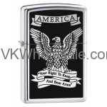 Zippo Lighter: America Eagle, Right to Bear Arms - High Polish Chrome 28290