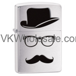 Zippo Brushed Chrome Top Hat Mustache Windproof Lighter 28648 Wholesale