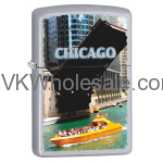 Zippo Classic Chicago Waterfront Satin Chrome Z102 Lighter Wholesale