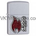 Zippo Satin Chrome Lighter With Zippo Emblem 28847 Wholesale
