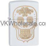 Zippo Choice Gold Skull Day of the Dead Dia De Los Muertos White Matt 28792 Wholesale