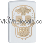 Zippo Choice Gold Skull Day of the Dead Dia De Los Muertos White Matt 28792 Wholesale