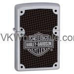 Zippo Harley Davidson Satin Chrome Lighter With Carbon Fiber Logo 24025 Wholesale