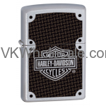 Zippo Harley Davidson Satin Chrome Lighter With Carbon Fiber Logo 24025 Wholesale