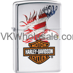 Zippo Harley Davidson Polished Chrome Lighter With American Flag 28082 Wholesale