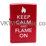 Zippo Keep Calm And Flame On Red Matte Lighter 28671 Wholesale