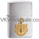 Zippo Windproof Navy Anchor, Emblem, Brushed Chrome Finish Lighter 280ANC Wholesale
