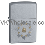 Zippo Windproof Satin Chrome Lighter, Ring Of Fire 21192 Wholesale