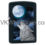 Zippo Wolf Howling at Moon - Black Matte 28879 Wholesale