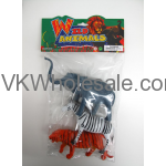 "8.5"" 3PC TOY WILD ANIMALS IN POLY BAG W/HEADER"