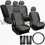 Gray & Black Superior Synthetic Faux Leather Car Seat Cover 17 PC Set Wholesale