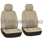 Solid Tan Superior Synthetic Faux Leather Car Seat Cover 6 PC Set Wholesale