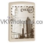 Zippo Classic City of Chicago White Matte Z100 Windproof Flint Lighter Wholesale