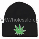 Green Leaf Embroidered Winter Skull Hats Wholesale