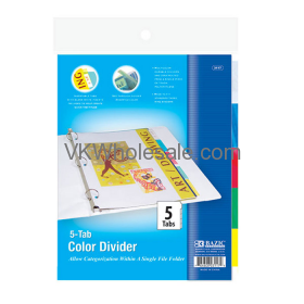 3-Ring Binder Dividers with 5-Insertable Color Tab Wholesale