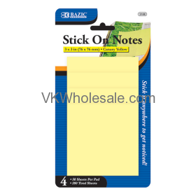 "50 ct. 3"" x 3"" Yellow Stick On Note (4/Pack) wholesale"
