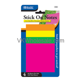 "40 ct. 3"" x 3"" Neon Stick On Notes (4/Pack) wholesale"