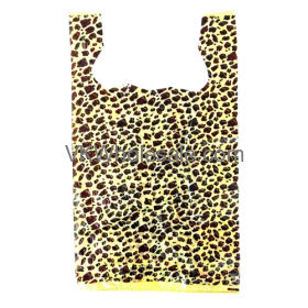 Leopard Print 1/6 Heavy Duty T-Shirt Shopping Bags Wholesale