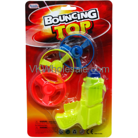 """3PC 3"""" FLYING SAUCERS WITH 5"""" WIND-UP SHOOTER IN BLISTER CARD Wholesale"""