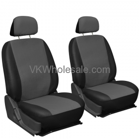 Solid Gray & Black Superior Synthetic Faux Leather Car Seat Cover 6 PC Set Wholesale