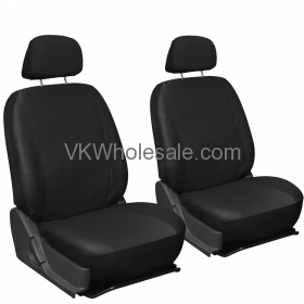 Solid Black Superior Synthetic Faux Leather Car Seat Cover 6 PC Set Wholesale