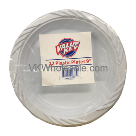 "9"" White Plastic Plates Wholesale"