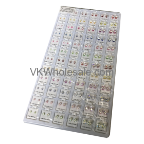 Cubic Zirconia Stud Earrings Color Round & Square Mix Jewelry Refill Tray Wholesale
