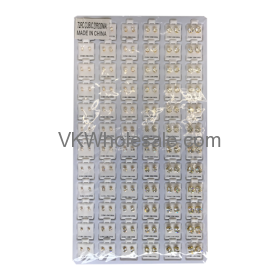 Cubic Zirconia Stud Earrings Gold Round & Square Mix Jewelry Refill Tray Wholesale