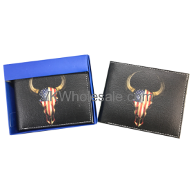 USA Flag on Bull Head Wallet Wholesale